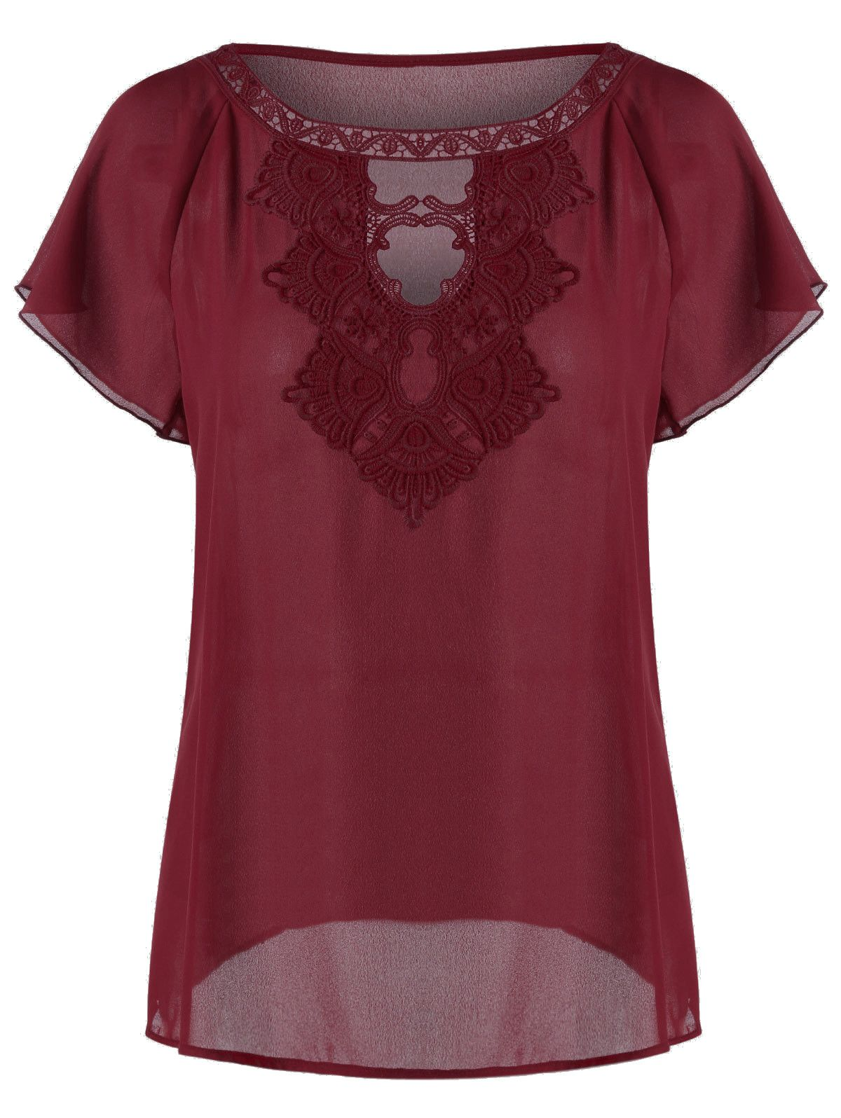 Raglan Sleeve Embroidery Cut Out Blouse - Wine Red - M | Strapless ...