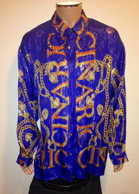 44ea2154aa75ec Vintage 90s BAROQUE BLUE Gold Chain print  VERSACE by FisforFRESH ...