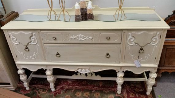 shabby chic, painted furniture, antique furniture, Jacobean style buffet table, antique sideboard, large sideboard buffet table #palletbedroomfurniture
