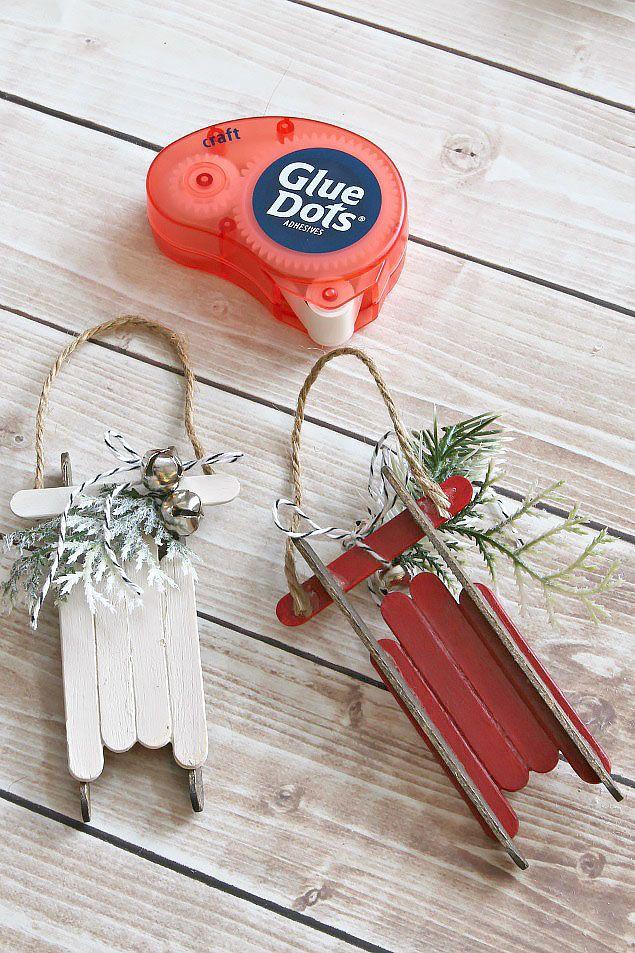 Photo of Handmade Christmas Ornaments – Popsicle Stick Sleds