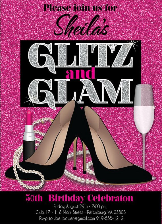 Glitz And Glam Adult Birthday Party Invitation By