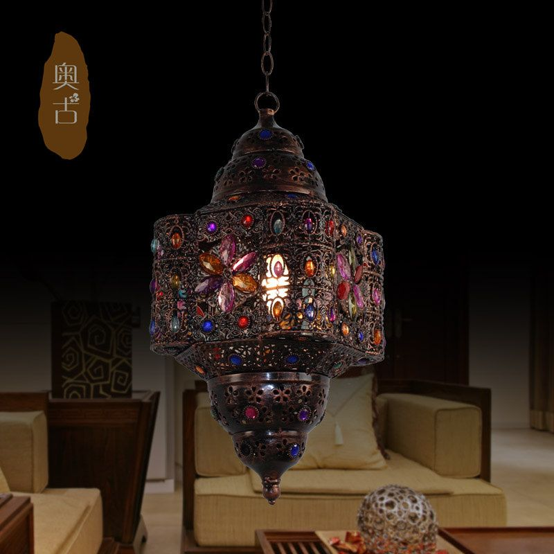 Fashion Vintage Lighting Beaded Iron Pendant Light American Rustic Lamp Lamps Iron Pendant Light Lamp Rustic Lamps