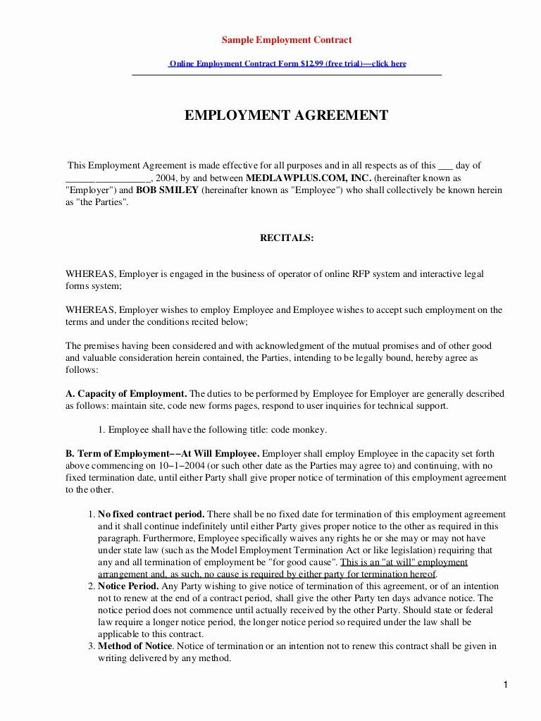 Contract Of Employment Template In 2020 Contract Template