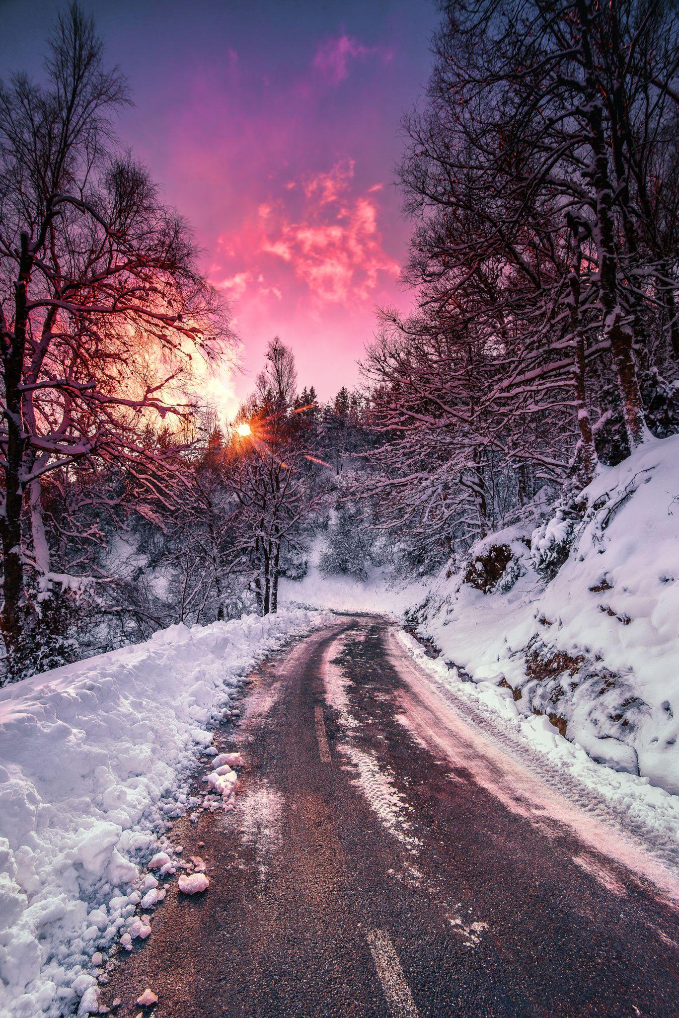 Morning walk, by Manu Bermudez..  #Snowflake #Snowyroad #Winterinthemountains #a…