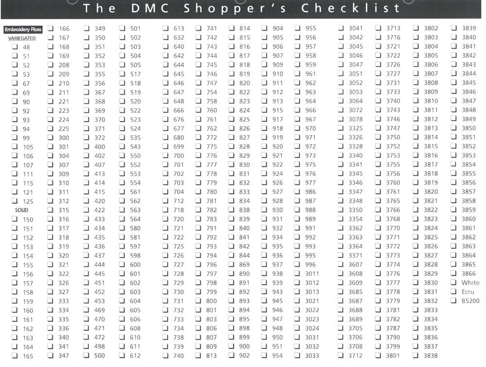Floss checklist dmc embroidery number «