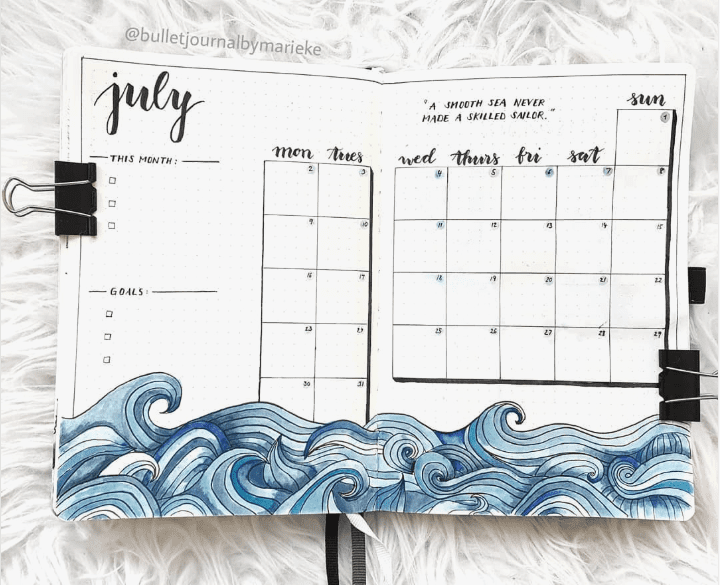 30 Under the Sea Themed Bullet Journal Layout Ideas | ElizabethJournals - Art