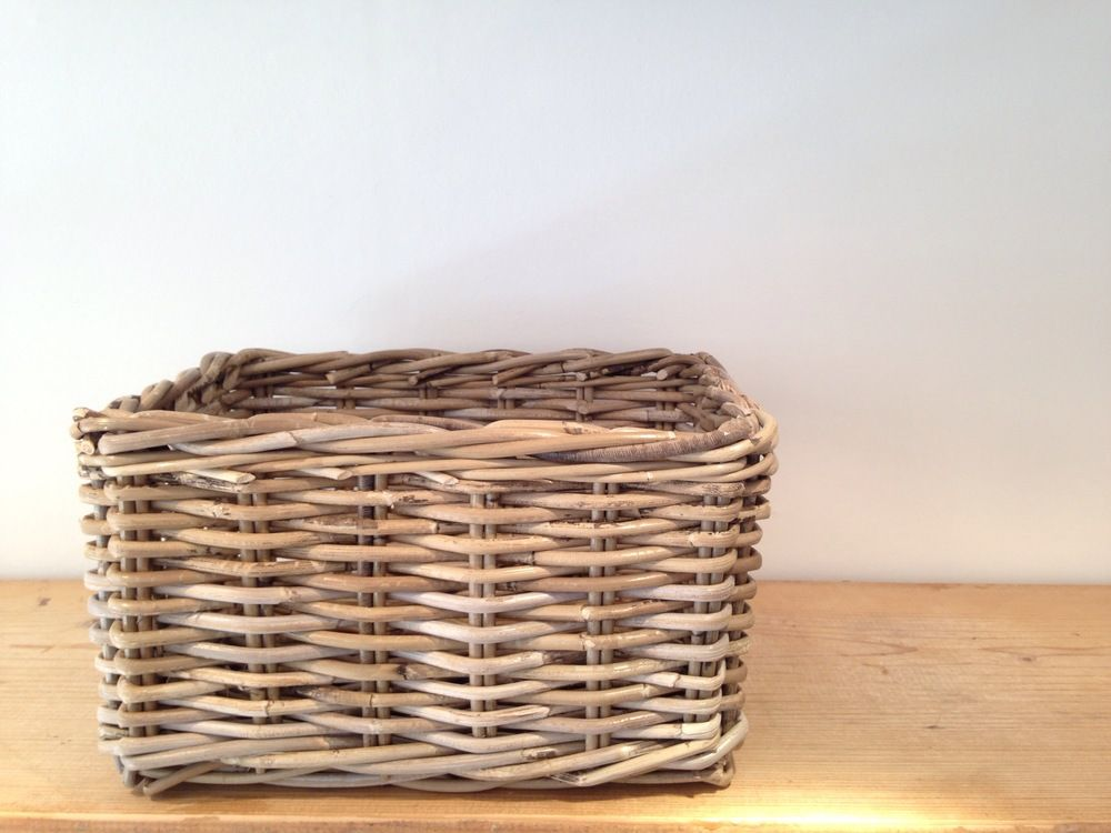 Grey Rattan Baskets  Available in 3 sizes  Small | H18 x 22 x 32cm  Medium | H21 x 28 x 38cm  Large | H24 x 34 x 44cm  *Due to the handmade nature of the baskets sizes may vary slightly.