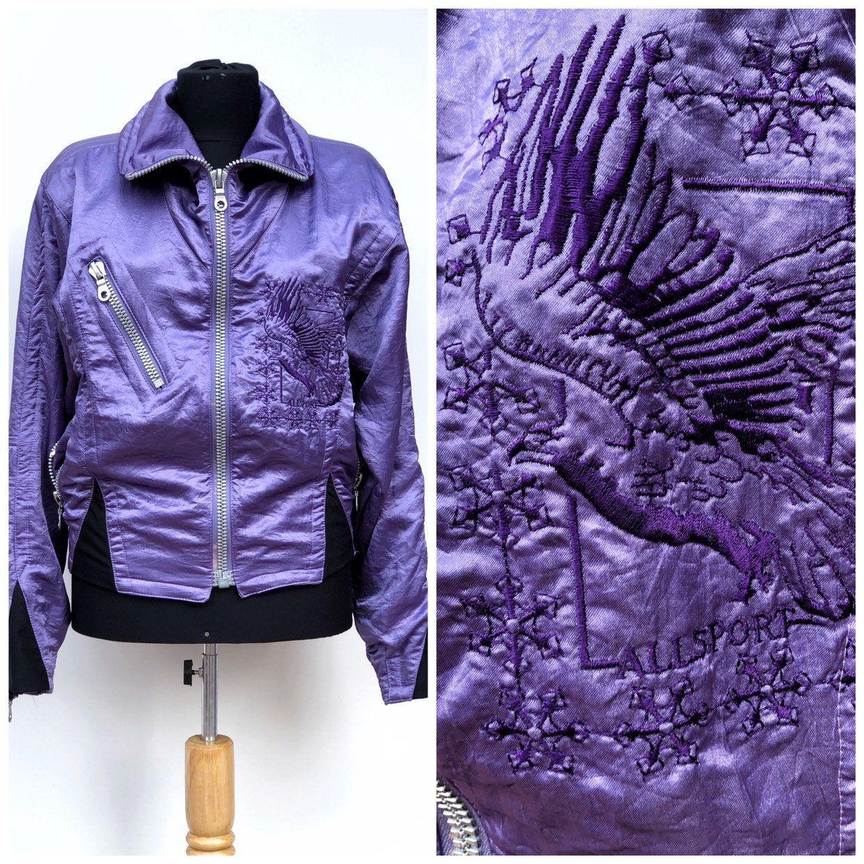 90s Allsport Brand Purple Bomber Jacketwoman Vintage Puffy Etsy Purple Bomber Jacket Bomber Jacket Women Satin Bomber Jacket [ 1242 x 1242 Pixel ]