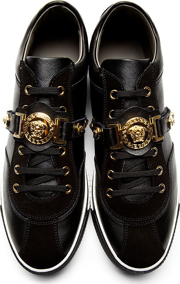 6b5882982b622 Versace: Black Leather Medusa Sneakers Check out my blog www.abdelicious.com