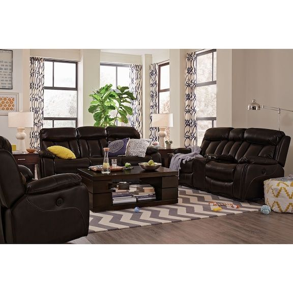 Devilishly Handsome With Its Deep Channel Tufted Backs And Seats And Buttery Soft Leather Like Upholster City Living Room City Furniture Furniture Sofa Set