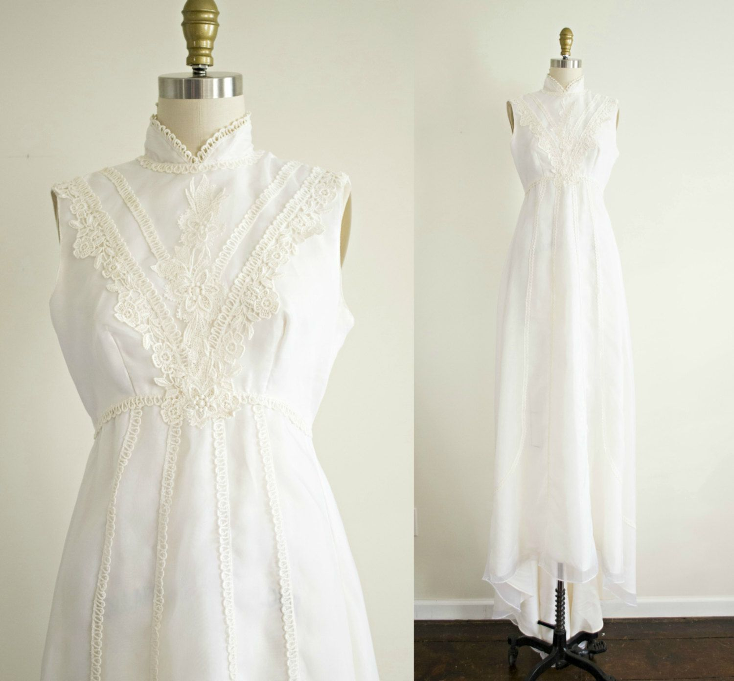White lace dress vintage  Victorian inspired bohemian vintage wedding dress  chiffon and lace