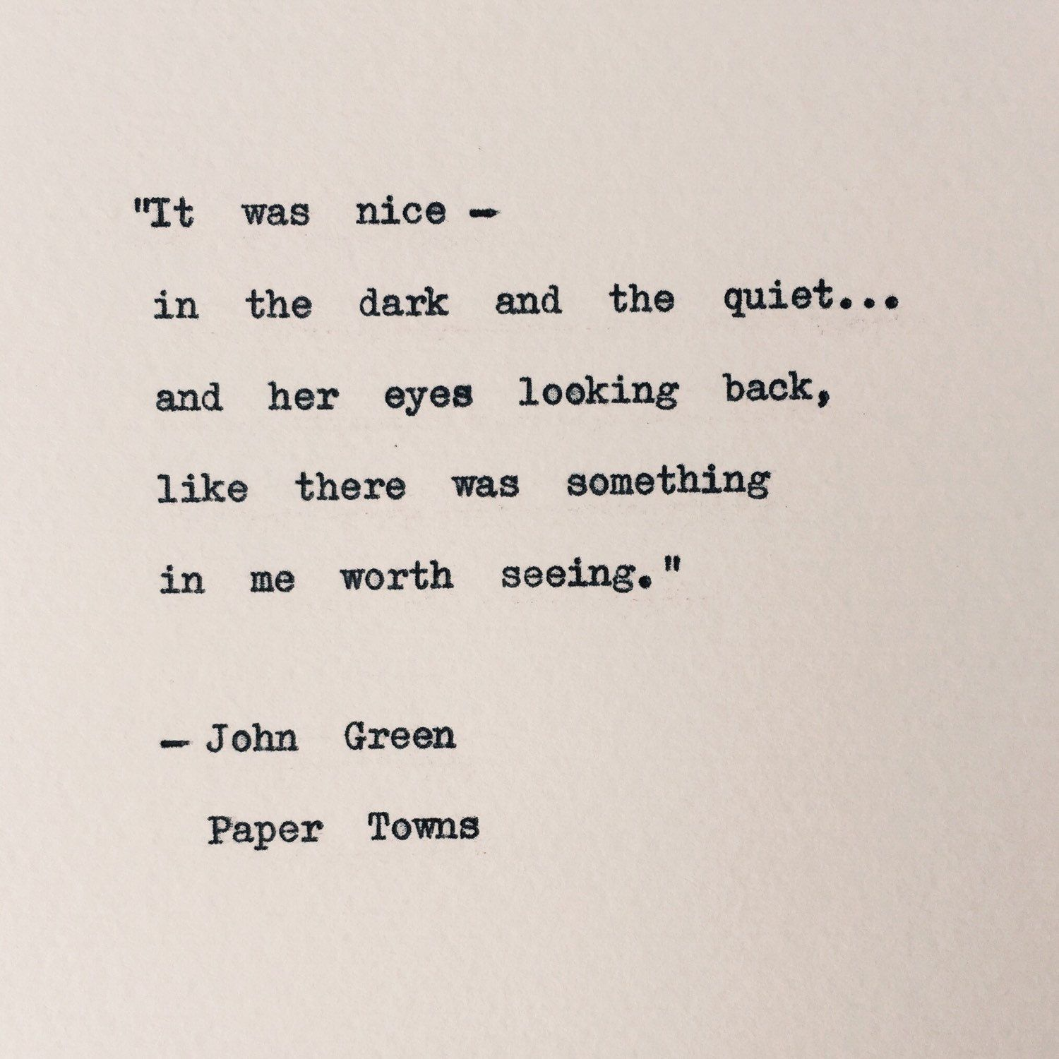 Paper Towns Typewriter Quote John Green Love Quote Wall Decor