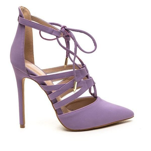 Make An Impression Lace-Up Heels LAVENDER ❤ liked on Polyvore ...