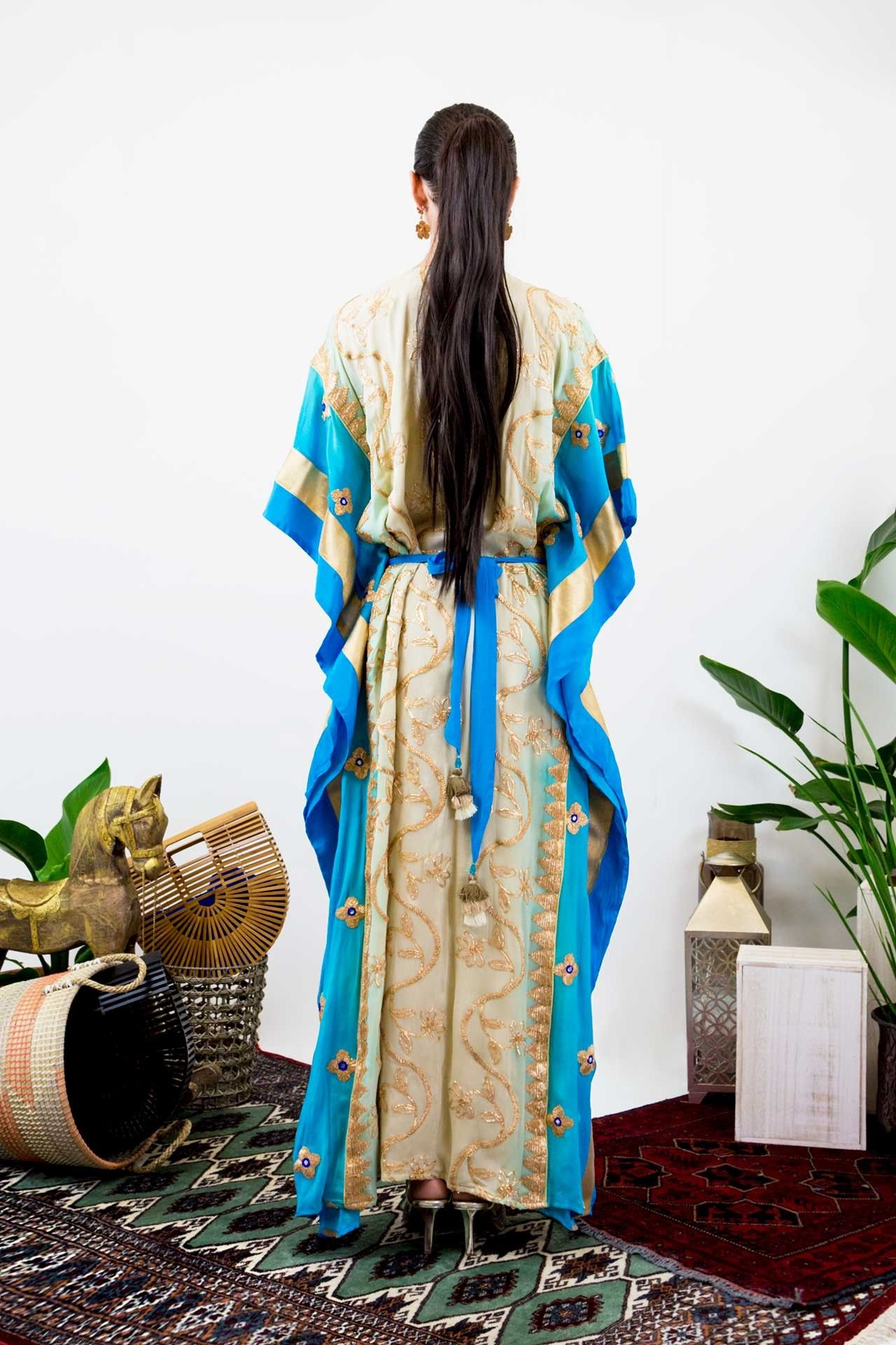 Light blue floral embroidered long kaftan designer kaftans