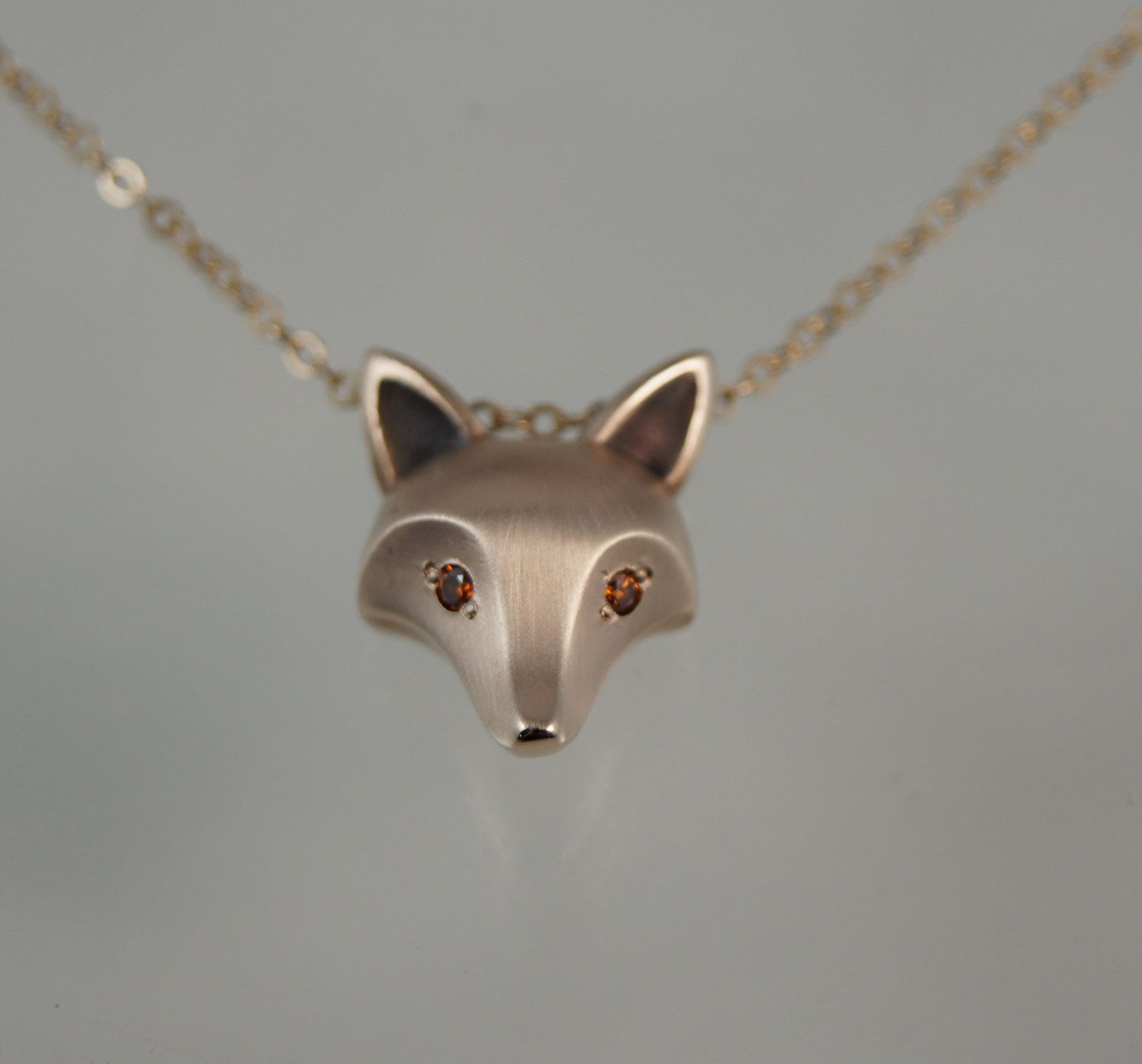Fox Pendant With Orange Diamond Eyes, Gold Filled Chain $13000,