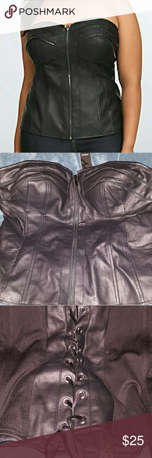 Torrid Faux leather corset NWT   Black corset, Lace and Other