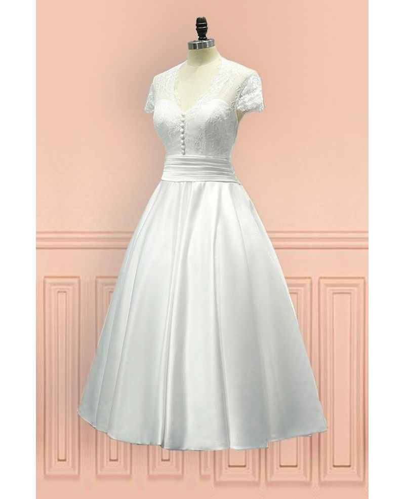 Wedding dress for older bride  Vintage Tea Length Wedding Dress Sheer Back With Cap Sleeves E