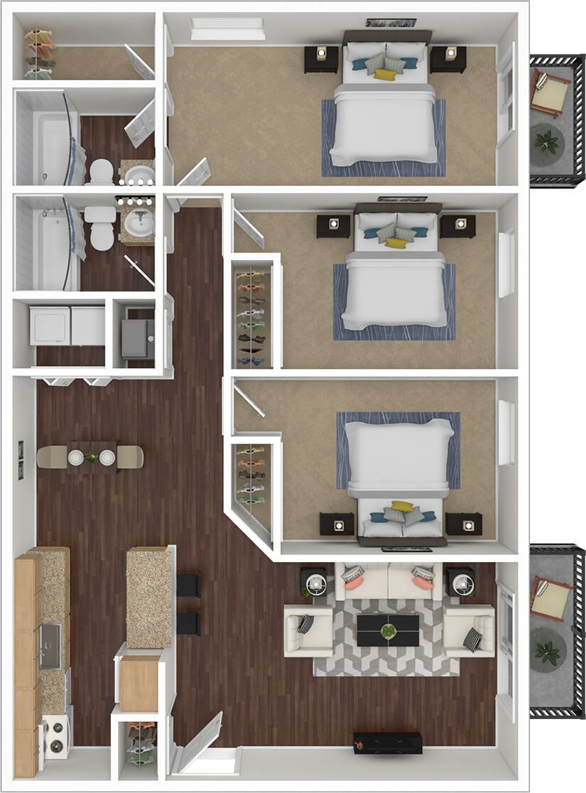 3 Bedroom 2 Bathroom Apartments For Rent In 2020 Amazing Apartments Apartment Bathroom Apartment Floor Plan