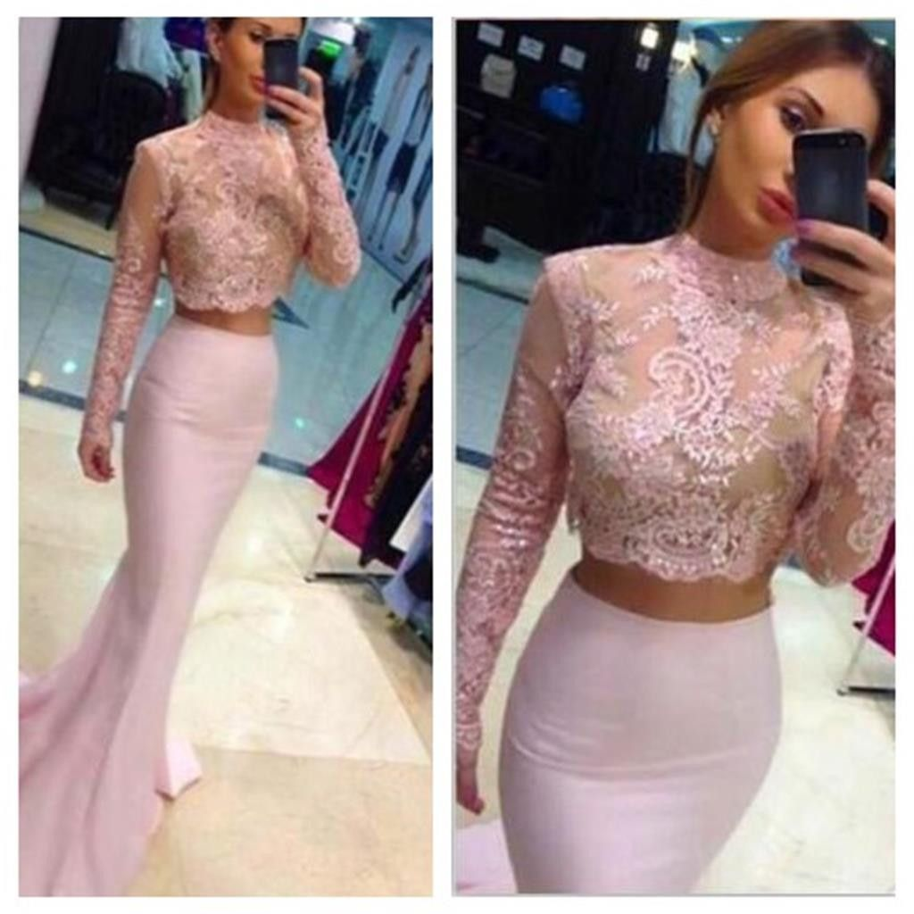Two pieces pink lace top long sleeve sexy mermaid prom dresses