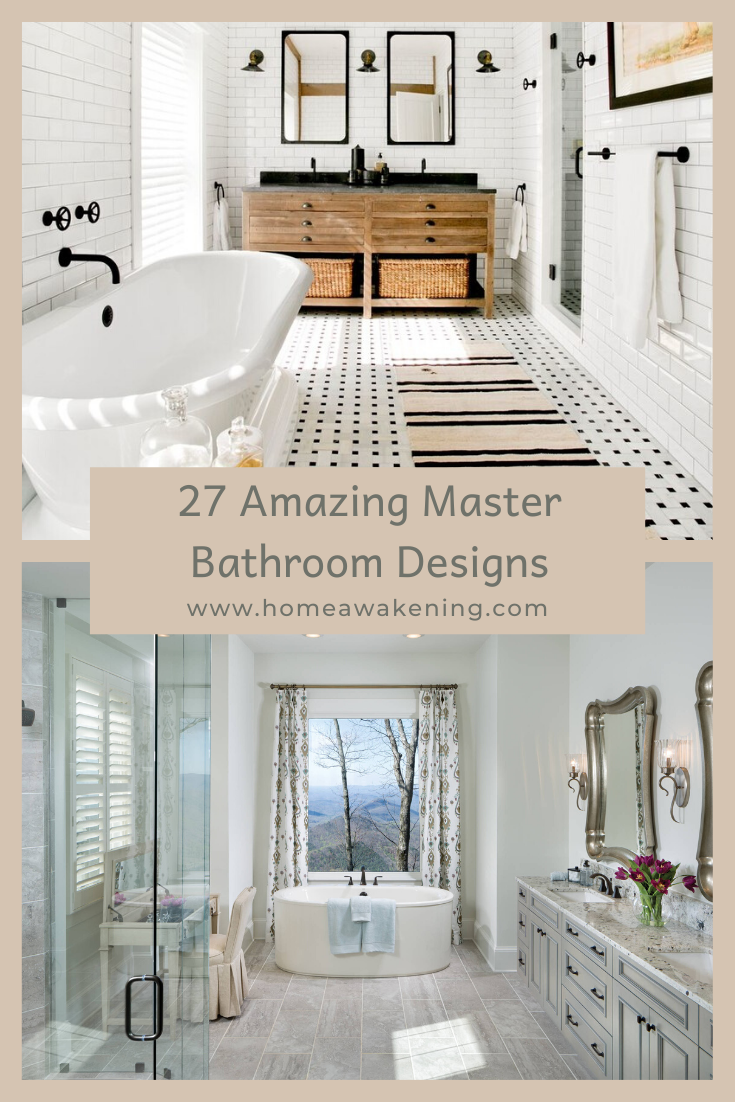 27 Amazing Master Bathroom Designs Home Awakening In 2020 Master Bathroom Design Bathroom Design Master Bathroom