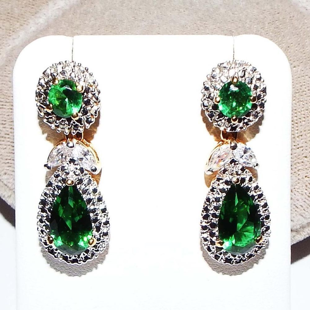 be00454000b80 Jacqueline Kennedy Camrose Kross Simulated Emerald Pierced Earrings ...