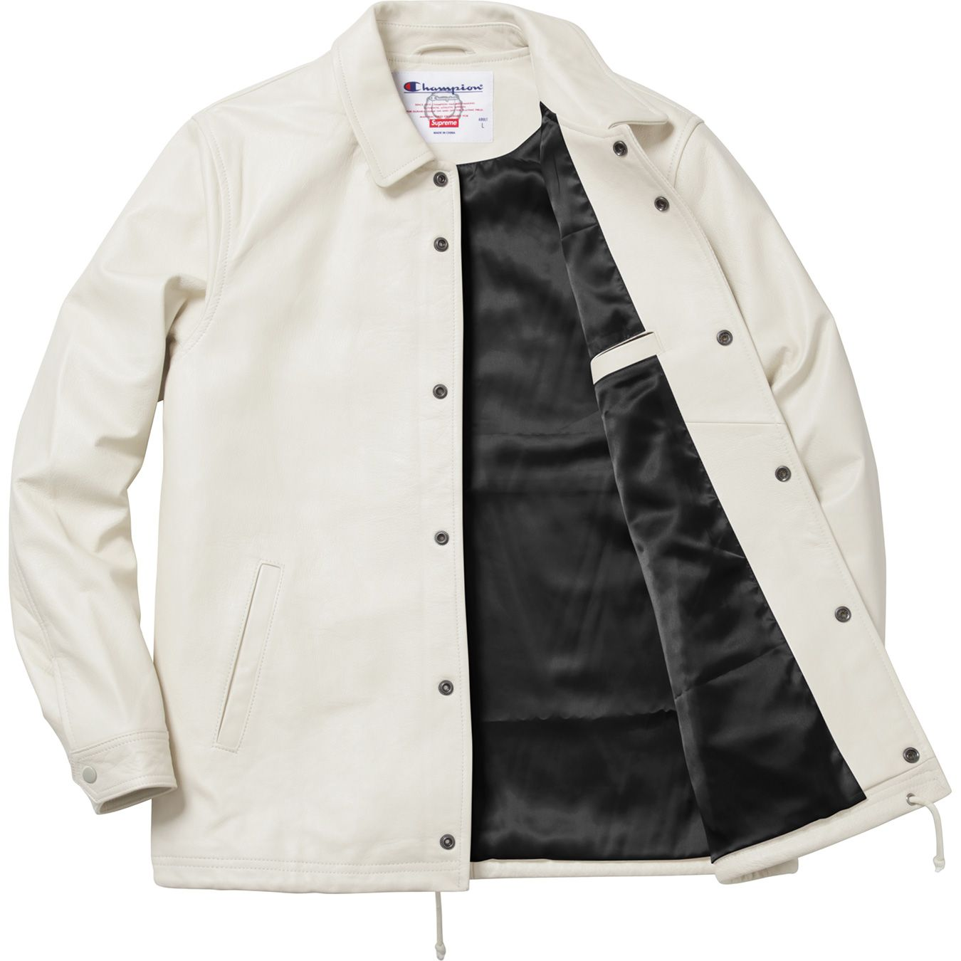 Supreme/Champion White Leather Coaches Jacket