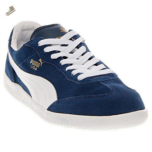 PUMA Unisex Liga Suede Classic Sneaker,Dark Denim/White,7.5 D US -