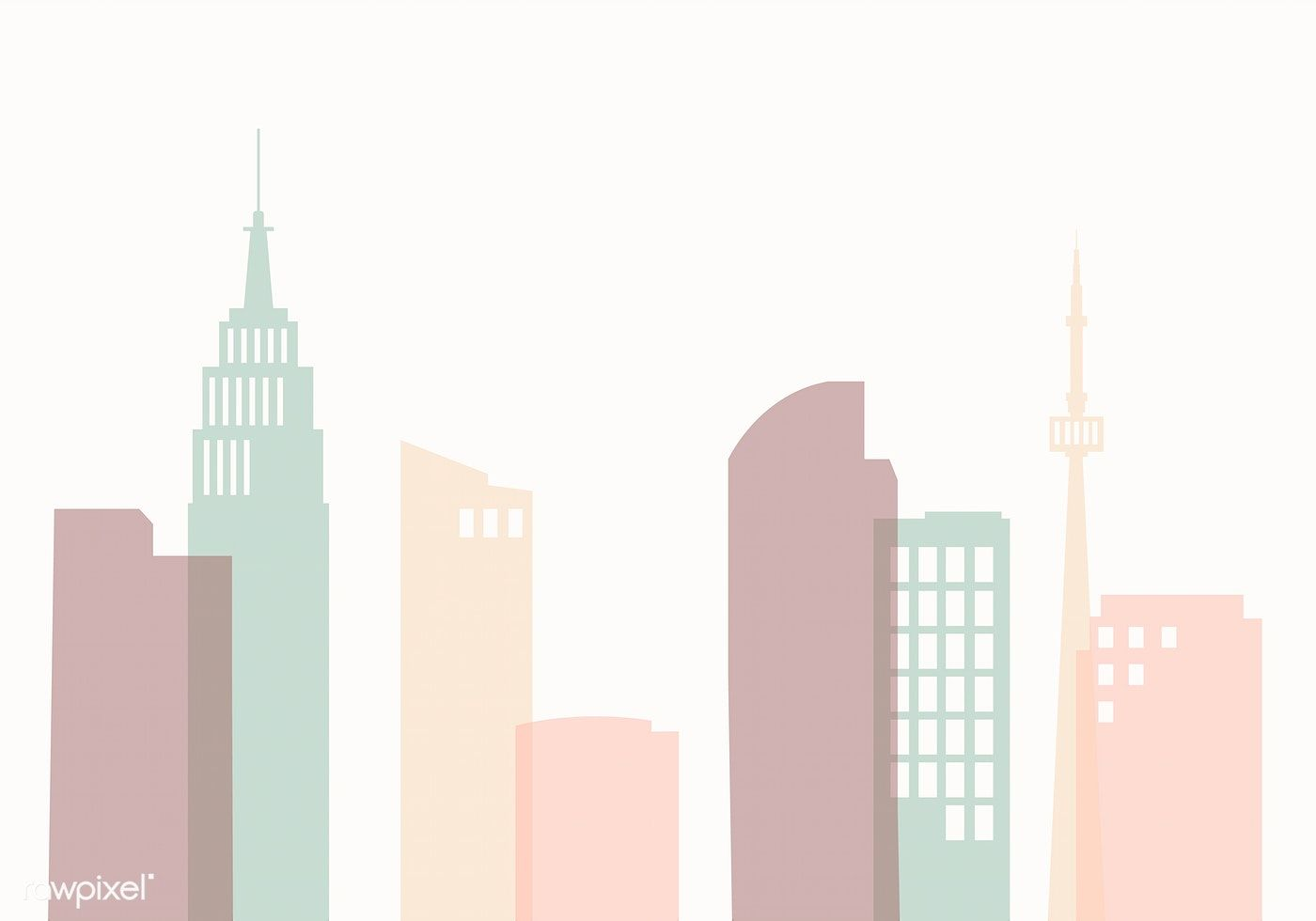 Pastel Silhouette Cityscape Background Vector Free Image By