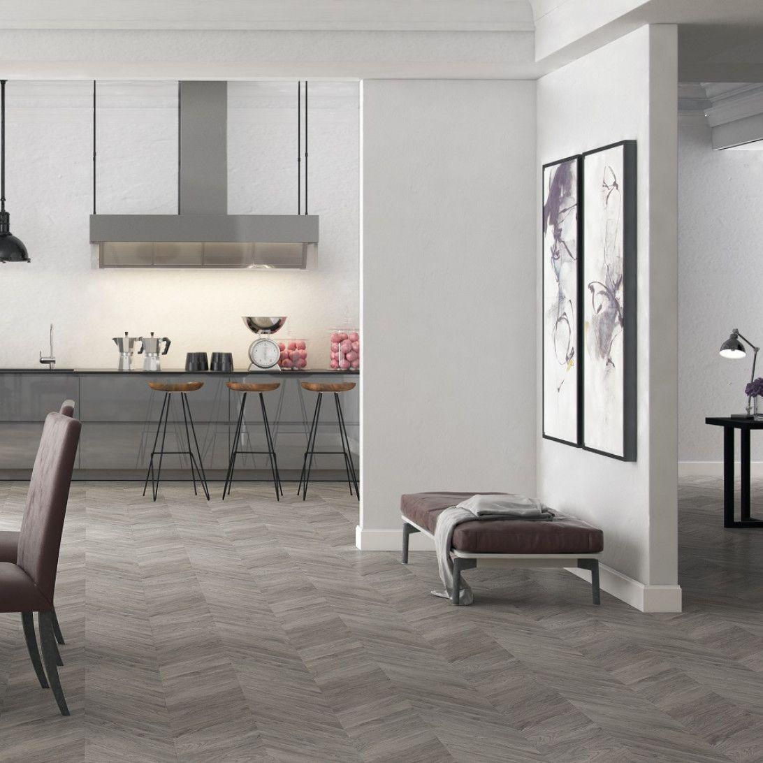 Wood2U Grey laminate flooring, Herringbone laminate