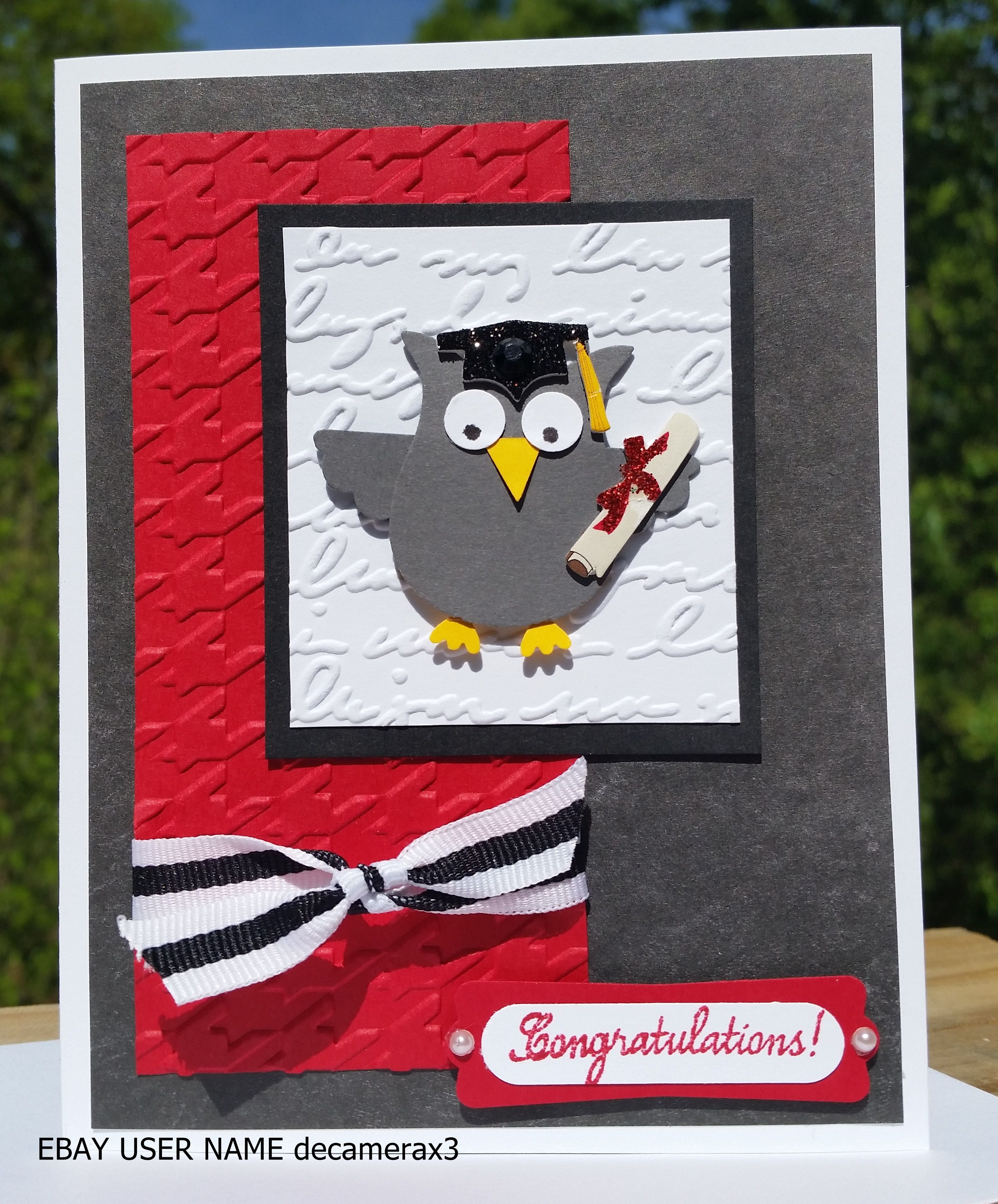 Handmade graduation card using the owl builder punch from