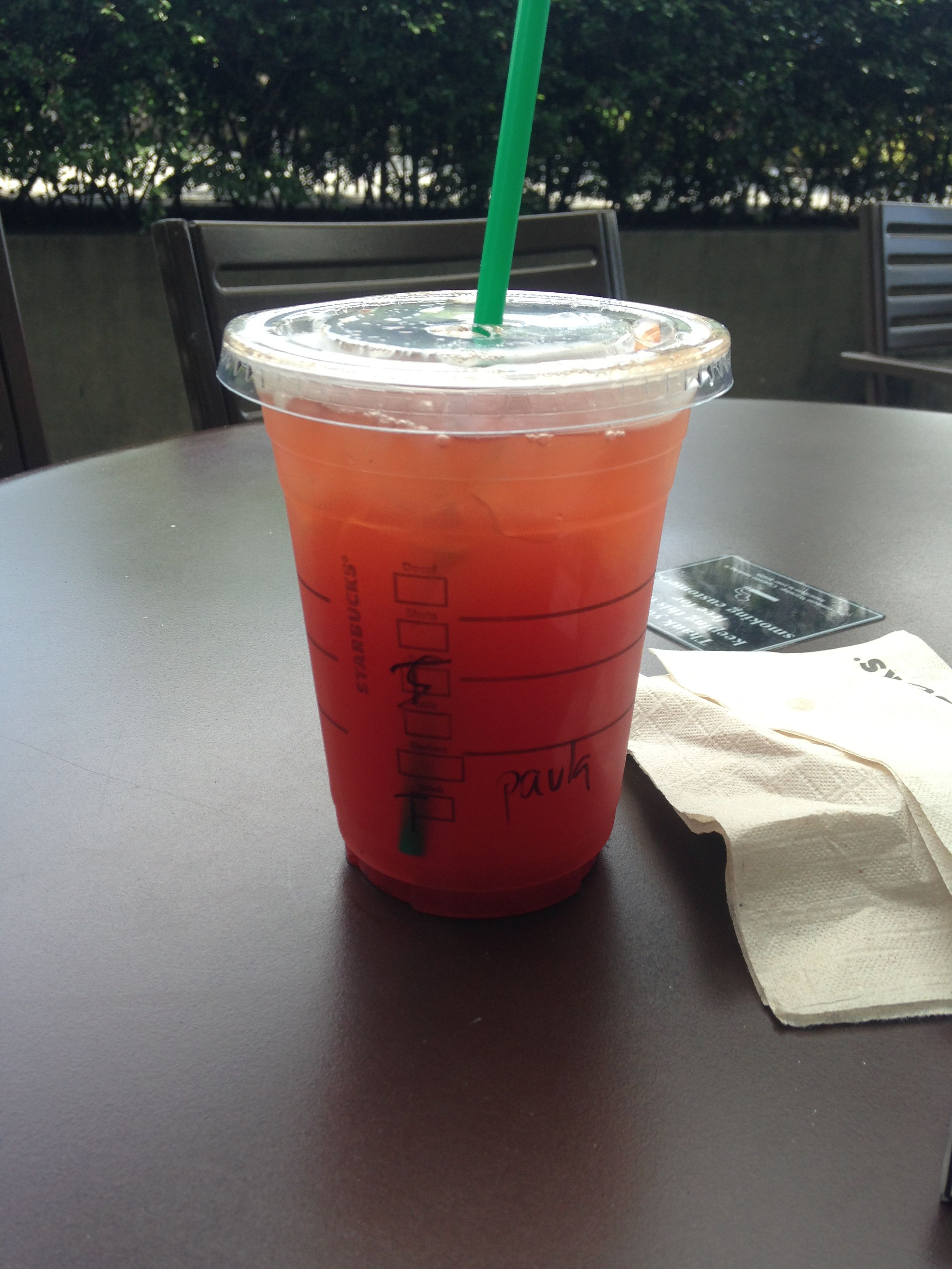 Iced black tea with strawberry syrup from Starbucks ...