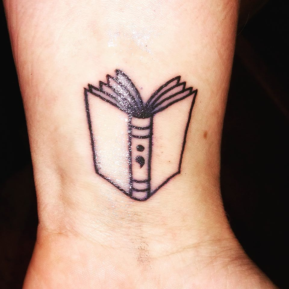 Small Book Tattoo: Book/semicolon Tattoo--I Love This!