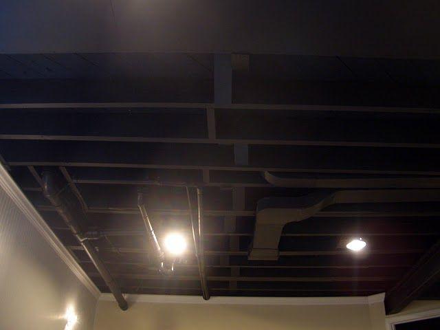 dark basement paint. Painting The Ceiling Black To Hide Duct Work. Nice Idea. Dark Basement Paint N