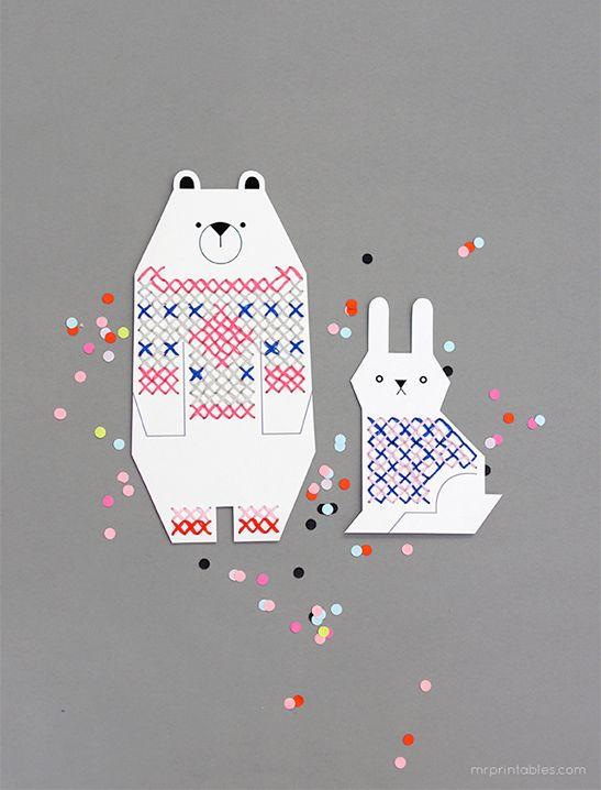 Animal Cross Stitch for Kids - Mr Printables | -To Print- | Pinterest