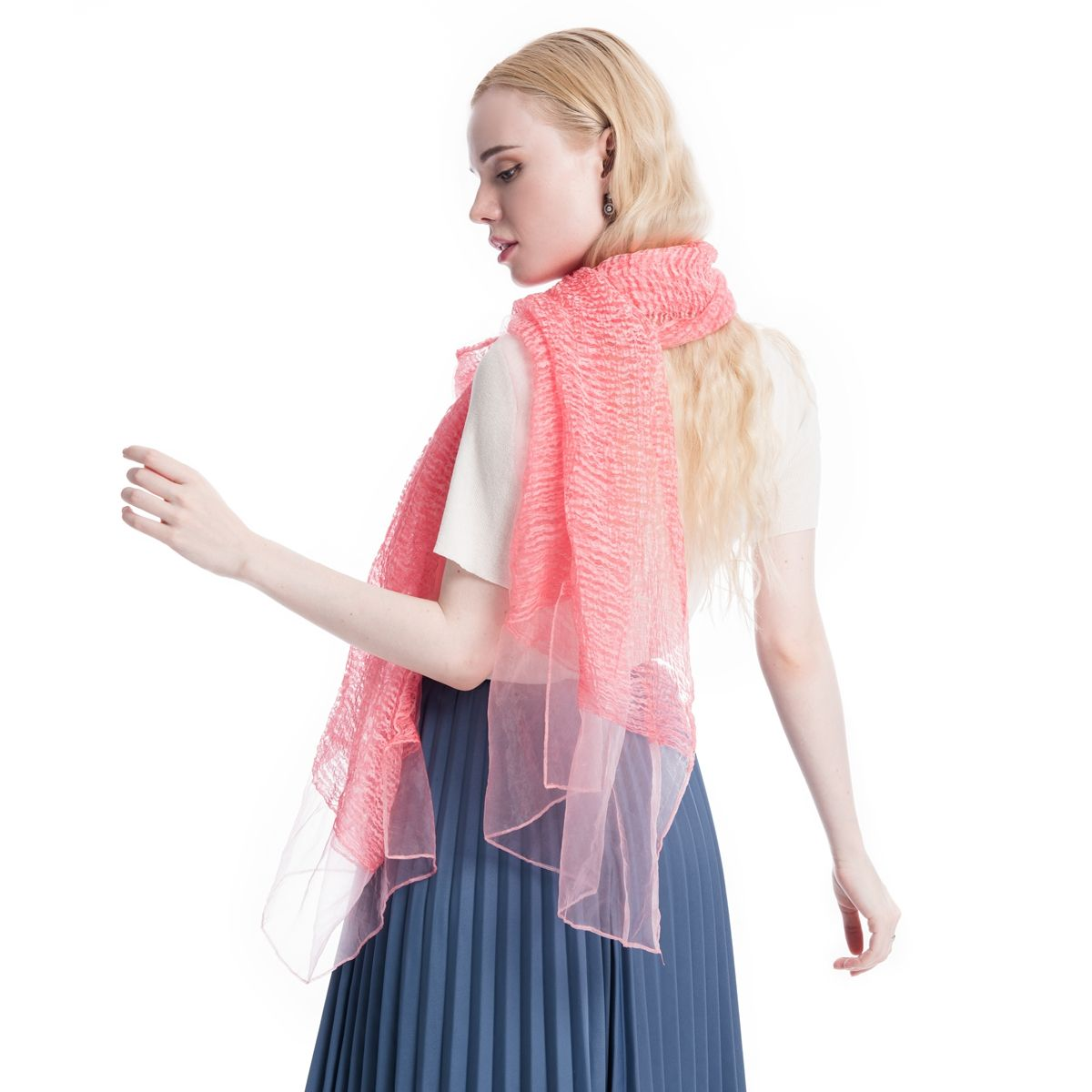 """Product: Long Silk Scarf/Shawl Color: Pink Size: 74'' X  23""""  Material: Polyester Silk  Price: $12.99  Gift Wrap available, and 30% off during Labor Day."""