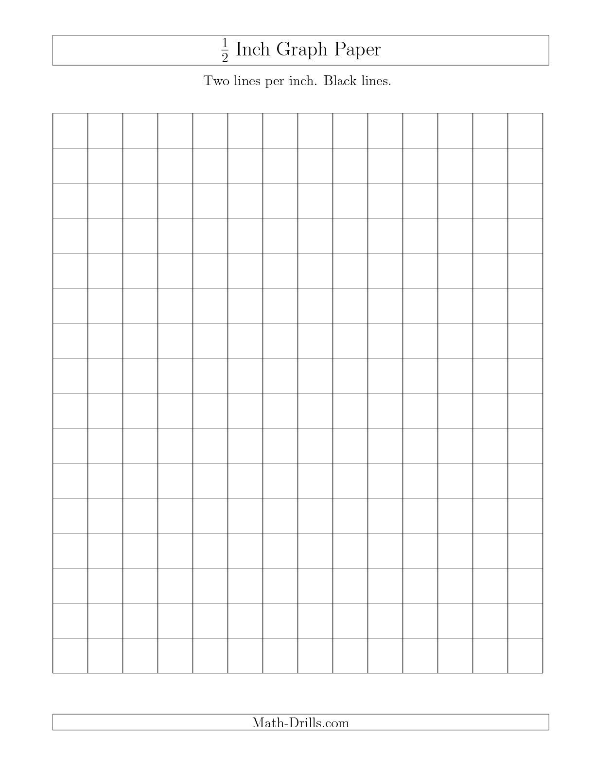 the 1 2 inch graph paper with black lines a math worksheet from the graph paper page at math. Black Bedroom Furniture Sets. Home Design Ideas