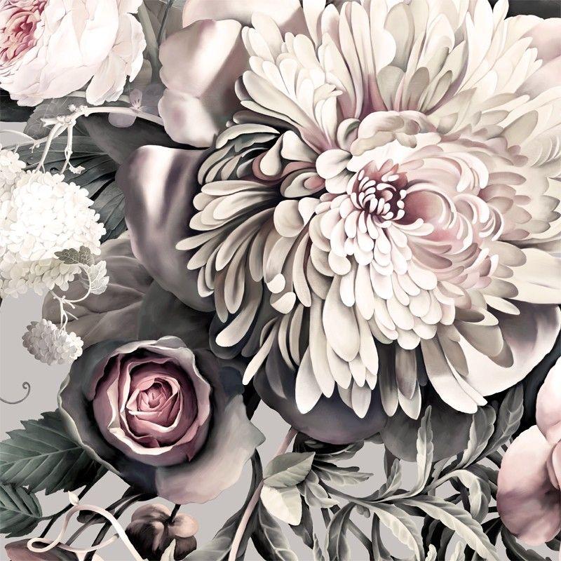 Gentle And Subtle... In Love.. Dark Floral II Gray