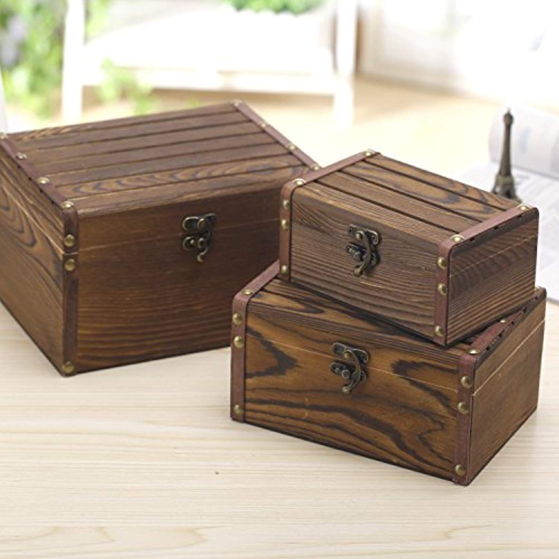 Set Of 3 Vintage Style Wood Decorative Nesting Boxes