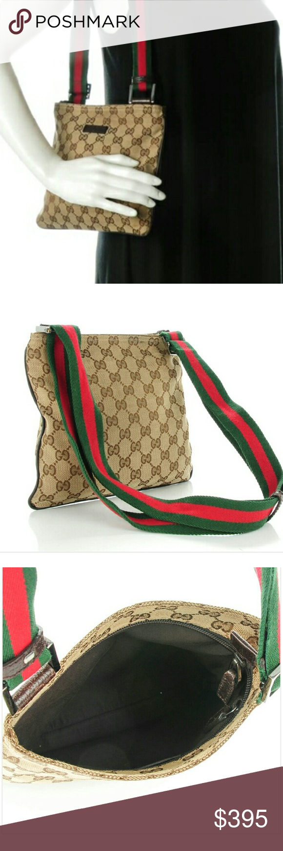 82d47a46f9d1bc Gucci Monogram Web Small Messenger Bag Surface wear, fraying , edge wear ,  discoloring ,