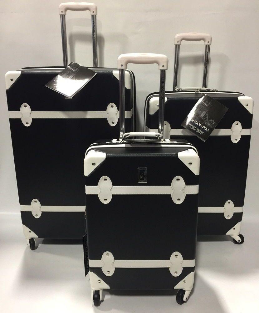 new london fog retro expandable spinner lightweight luggage set hardside black - London Fog Luggage