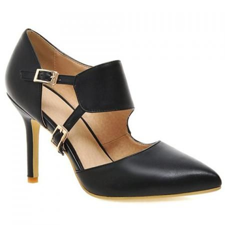 Fashionable Pointed Toe and Double Buckle Design Women's Pumps