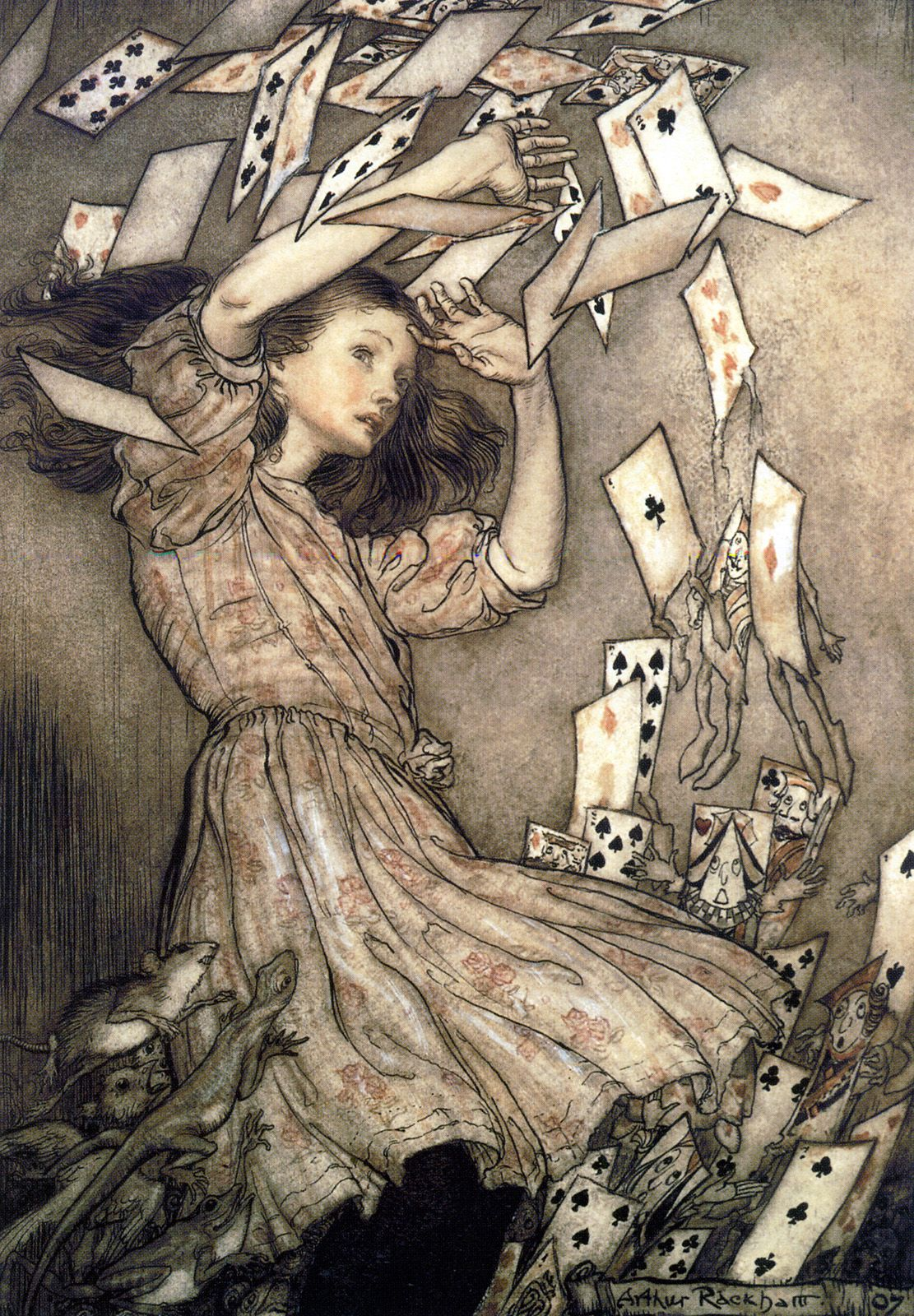 At this the whole pack rose up into the air, and came flying down upon her - Alice's Adventures in Wonderland by Lewis Carroll,1907