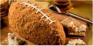 Make football spectators happy with this delicious football made with three cheeses.