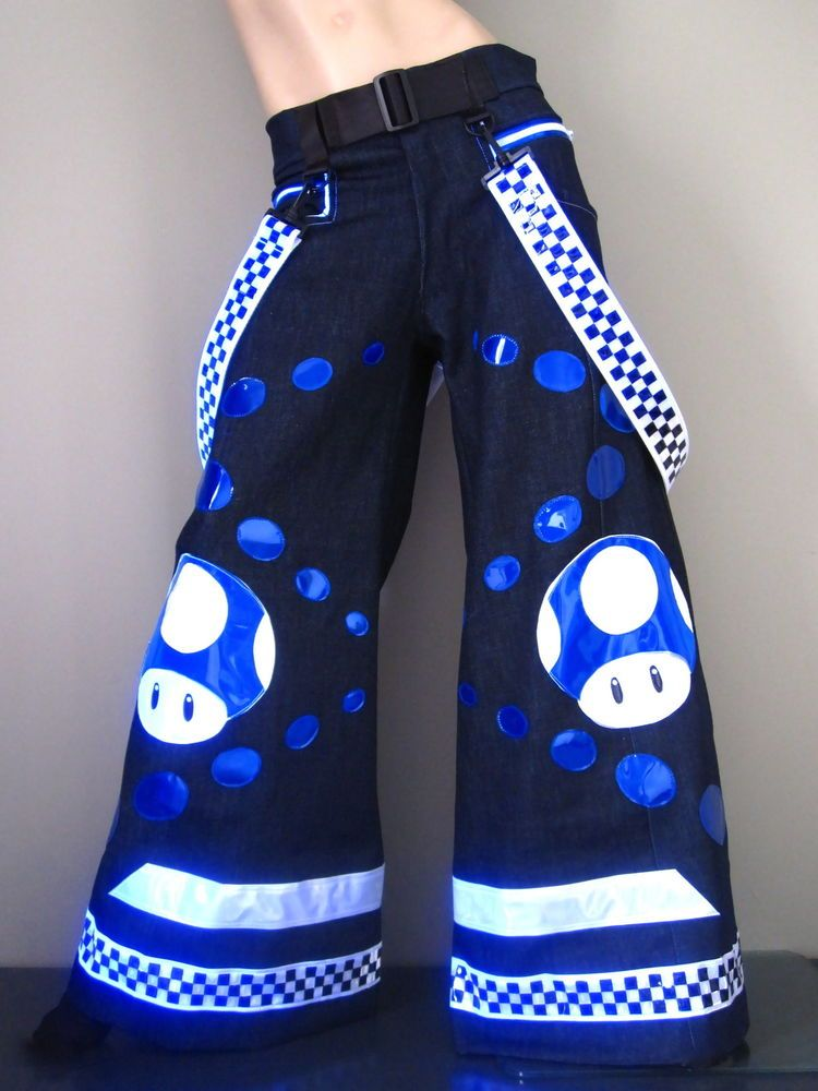 Schminke Hello emo Phat pants reflective dance clothing rave reflector UV