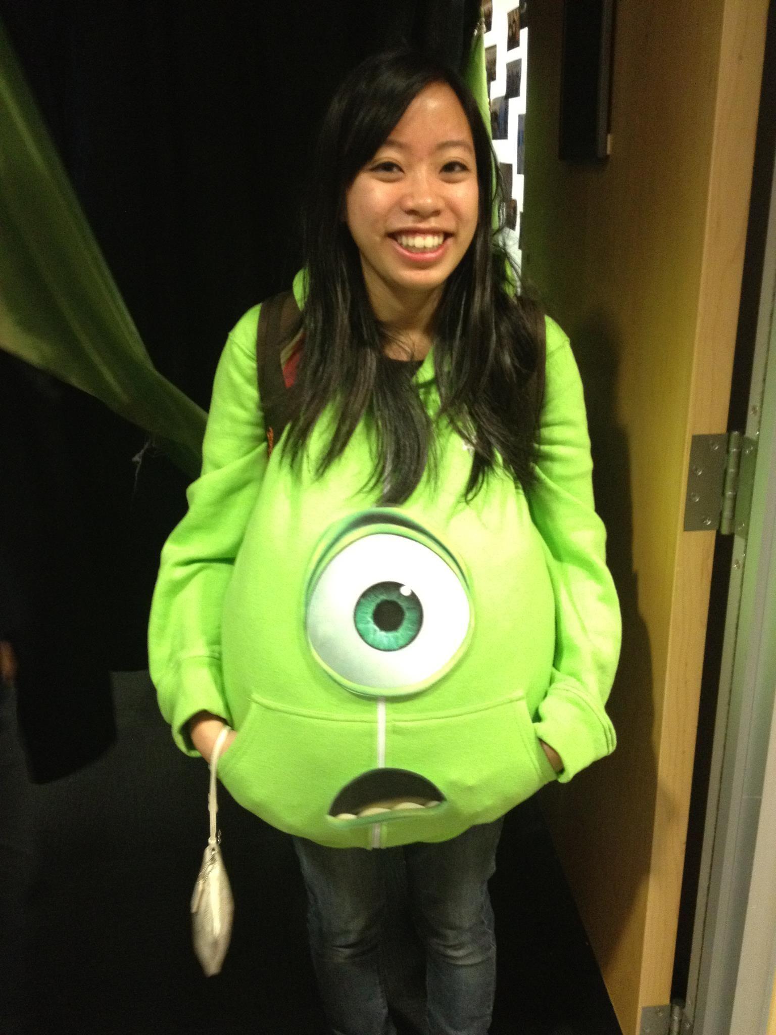 How To Make A Mike Wazowski Monster S Inc Costume Monster Inc Costumes Mike Wazowski Costume Monsters Inc Costume Diy