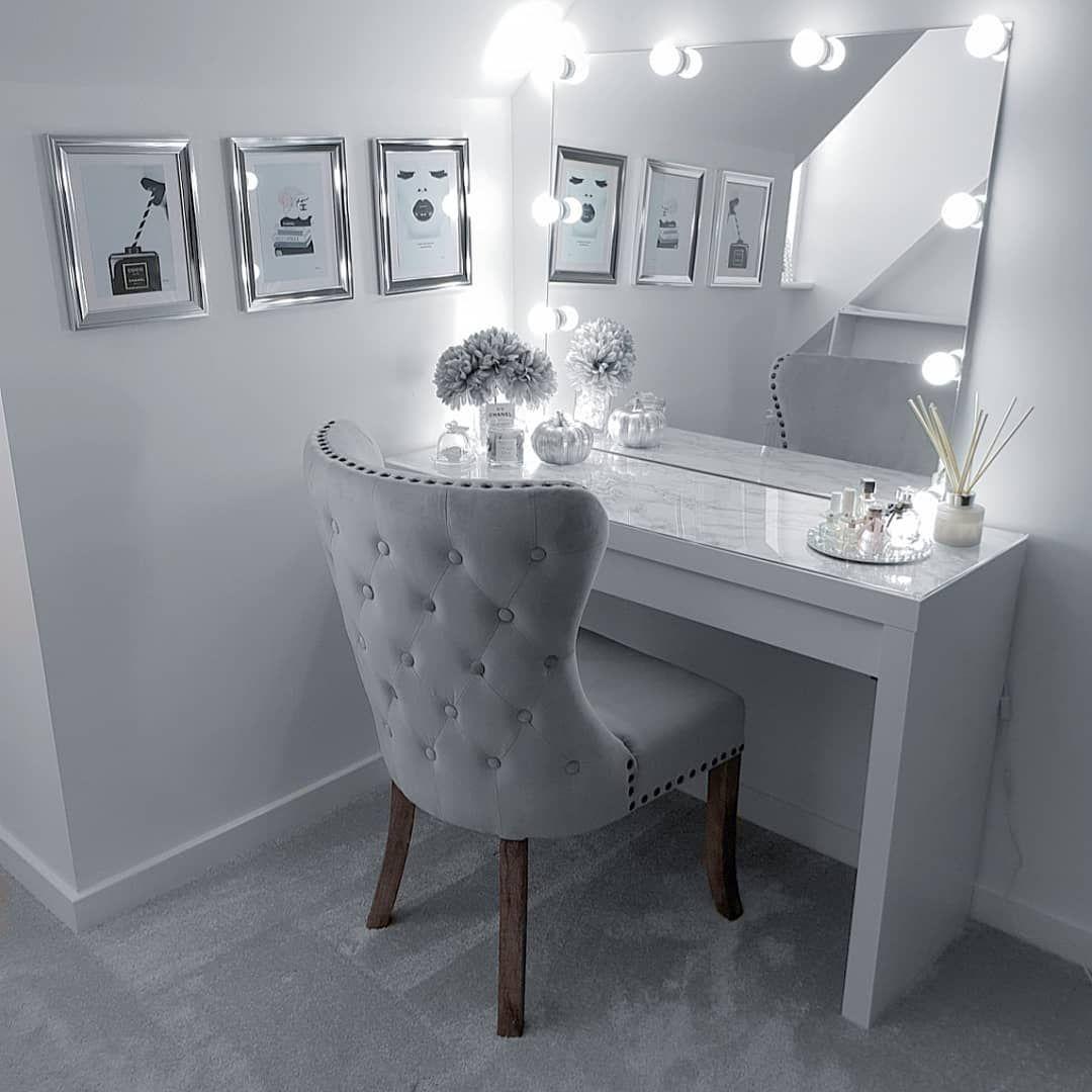 Dressingroom Dressingtable Hollywood Mua Makeup Bright Homesense Chair Chanel Mirror Pretty Room Decor Dressing Room Decor Bedroom Decor