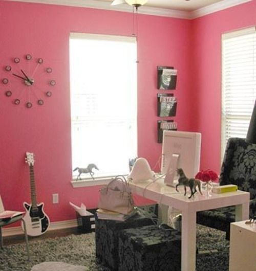 Pretty Dazzling Great Home Office Design Idea With Feminine Pink Wall Color