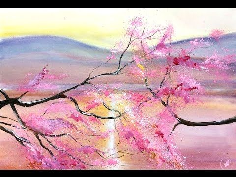 Watercolor Cherry Blossom Trees Painting Demonstration Youtube Watercolor Hummingbird Painting Demonstration Watercolor Paintings
