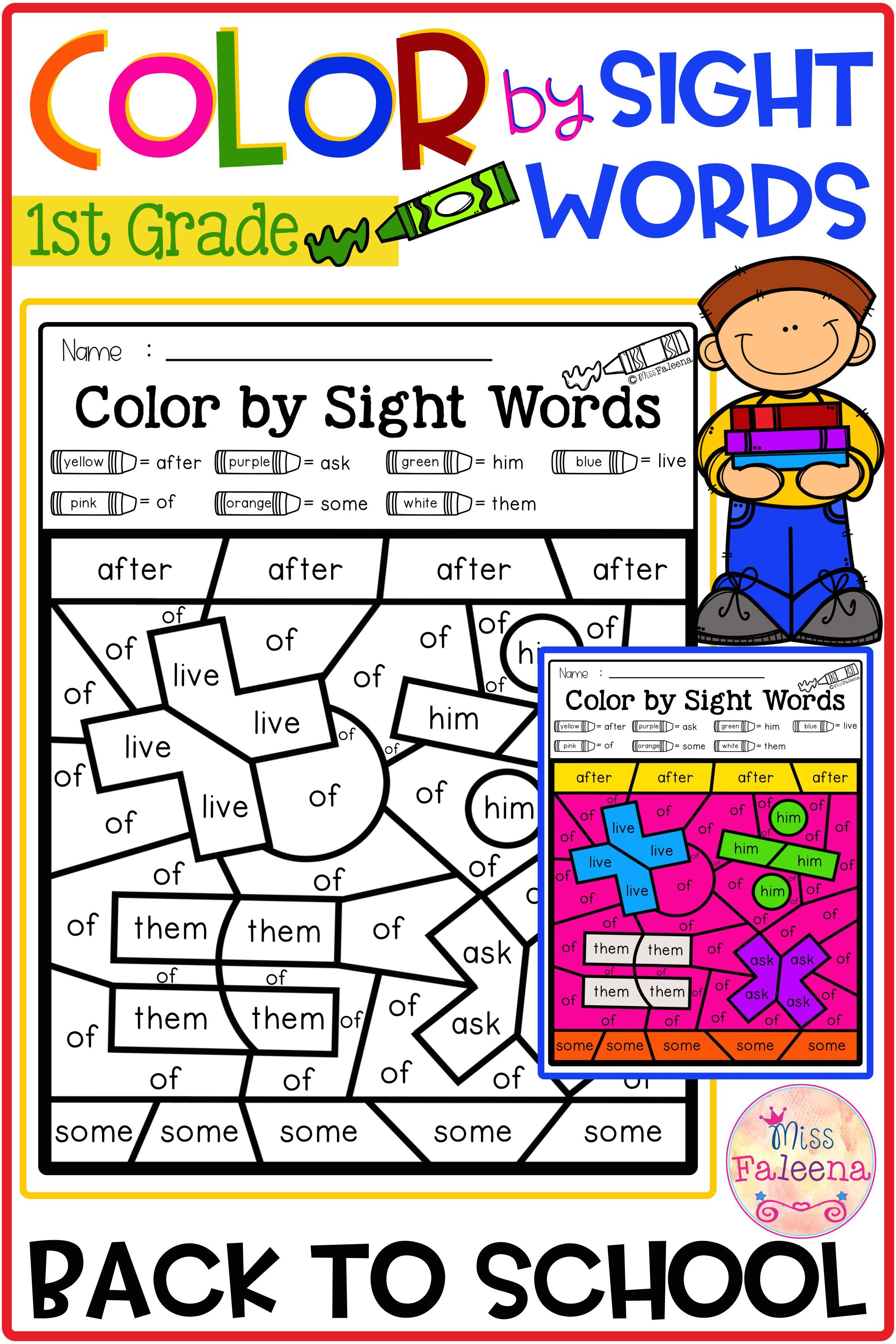Back To School Color By Code Sight Words First Grade Di