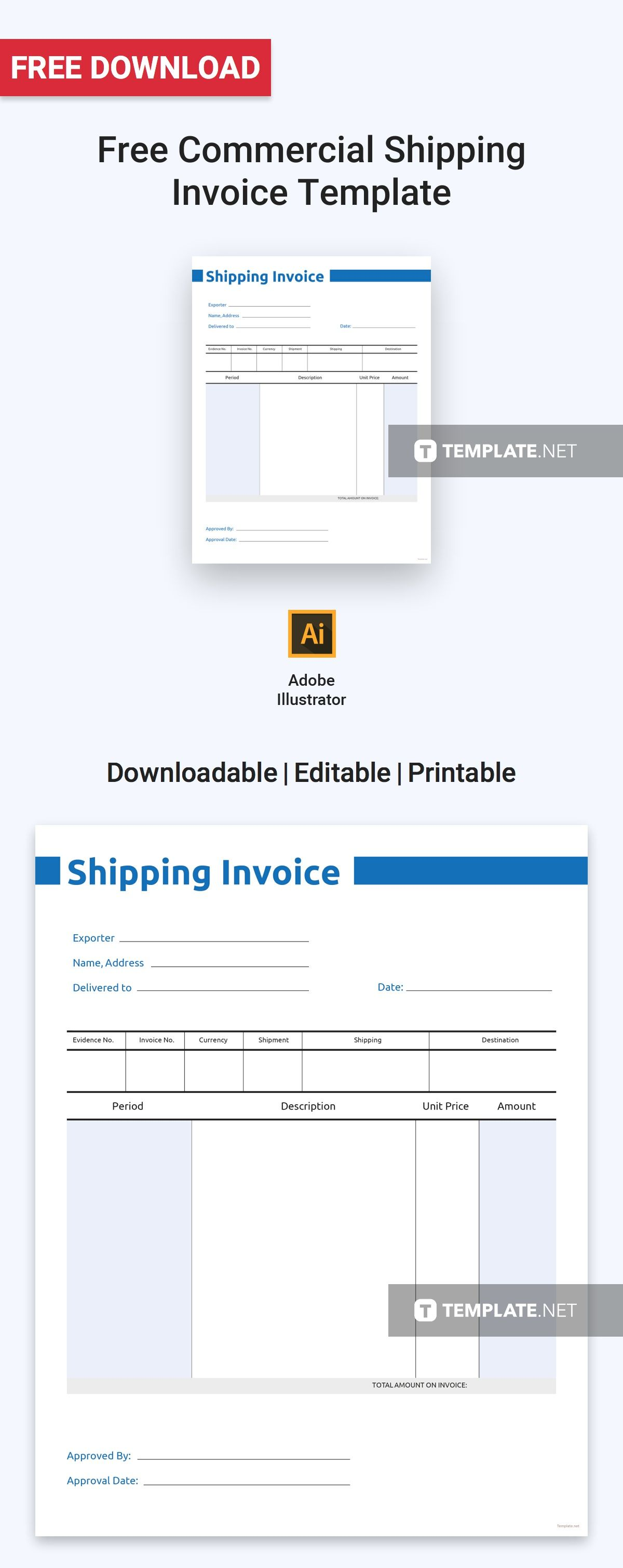 Free Commercial Shipping Invoice Invoice design template